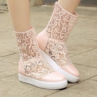 New Women Pink Round Toe Flat Casual Mid-Calf Boots