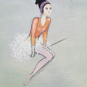 Ballerina Art Mixed Media Painting Brown Hair, Orange and White Modern Dance Acrylic On Canvas 16X20 inches.