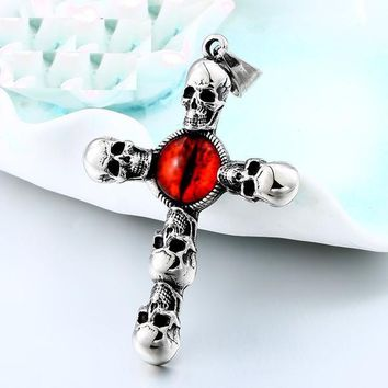 Vintage Cross Skull with Claw Evil Red Eye Necklace Pendant Stai 1409e1f9394f