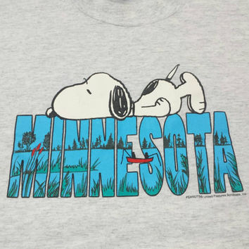 Vintage Snoopy Minnesota T Shirt, XL, Peanuts Cartoon, Vintage 80s Graphic Print Tee, MN, Retro Burnout TShirt, Hip Hop Hipster, Extra Large