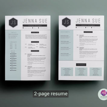 Modern resume template : 2-page CV template , cover letter template