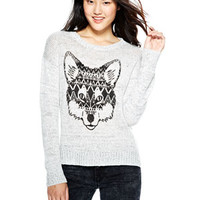 Tribal Fox Intarsia Sweater - Grey
