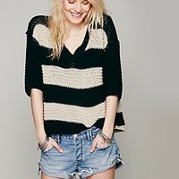 Free People Womens Stripe Park Slope Pullover - Black / Tan, S