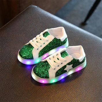 New Arrived Luminous Sneakers Kids Light Up Shoes Sequins Stars Children Led Slippers