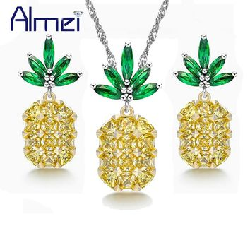 Almei Luxury Zirconia Pineapple Necklace and Earring Sets Costume Jewelry Set Women Kids With Green Yellow Stone Brinco PT001