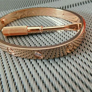 Cartier 18K Rose Gold/4 Diamonds Love Bangle Bracelet Size 17