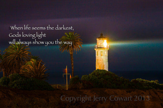 Night Lighthouse Inspirational Or Bible From