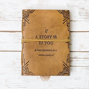 """""""If A Story"""" Handmade Blonde Leather Journal"""