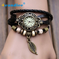 2016 Hotsale Fashion 1PC Womens Bracelet Vintage Weave Wrap Quartz Leather Leaf Beads Wrist Watches Drop Shipping Fabulous