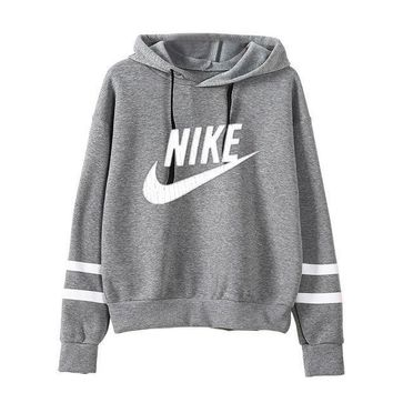 DCCKB62 Nike' Unisex Sport Casual Stripe Multicolor Letter Print Long Sleeve Hooded Sweater Couple Sweatshirt Hoodie Tops