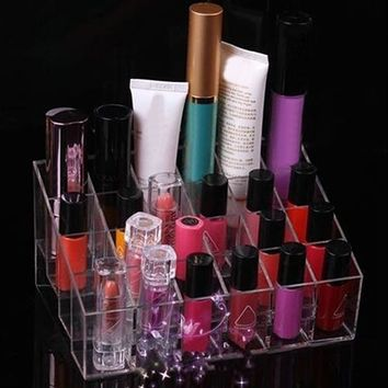 Makeup 24 Lipstick Gloss Cosmetic Storage Display Stand Holder Rack Organizer