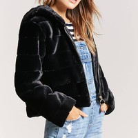 Quilted Faux Fur Hooded Jacket