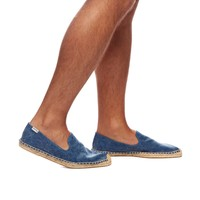 Smoking Slipper Washed Canvas - Blue Espadrilles for Men from Soludos - Soludos Espadrilles