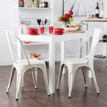 Trattoria Dining Chair, Metal, Stackable, Set of (4), White - Free Shipping Today - Overstock.com - 22281829