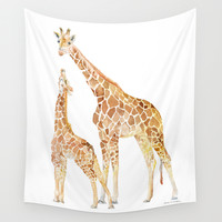 Mother and Baby Giraffes Wall Tapestry by Susan Windsor