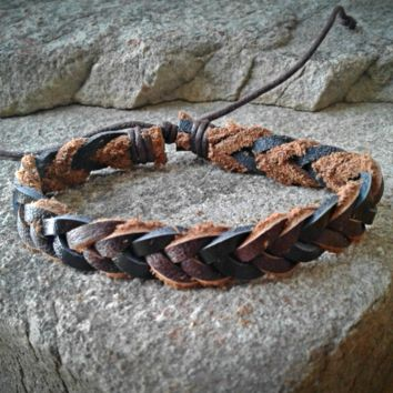 Two Tone Brown Leather Braided Adjustable Unisex Leather Weave Wrap Bracelets