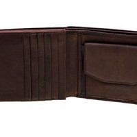 Paul & Taylor Genuine Leather Men's Large Bi-fold flap up Wallet Brown