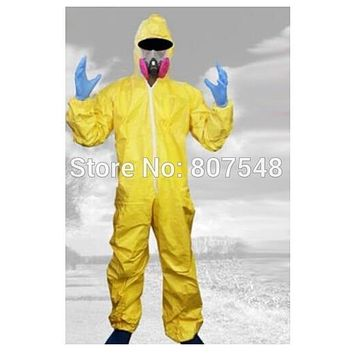 Breaking Bad Costume Walter White Carnival  Jumpsuit Halloween Cosplay Costumes with Half Mask Gloves (One Size)