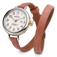 Women's Shinola 'The Birdy' Double Wrap Leather Strap Watch, 34mm