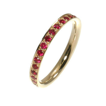 Ruby Eternity Gold Ring - Full Eternity Red Ruby 0.82 Carat - 14k Solid Gold.