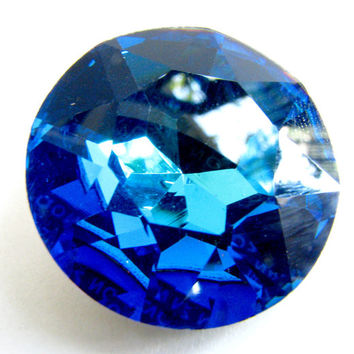 BERMUDA BLUE - Large Bright Tropical Ocean Blue Round Rivoli Cut Shape Swarovski Crystal - 28mm Jewelry Supplies