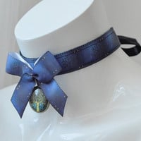 Kitten play day collar - Autumn tree - ddlg princess choker with pendant - jeans blue necklace
