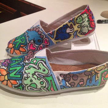 Custom Hand Painted Canvas Shoes Example by annachurch12 on Etsy