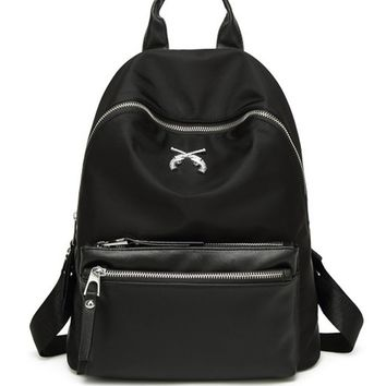 Streetstyle  Casual Polyester Basic Black Backpack