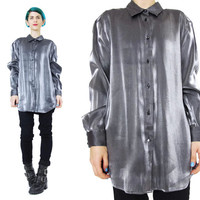 90s Metallic Silver Shirt Silver Blouse Vintage Silver Party Shirt Long Sleeve Button Up Womens Collared Shirt Club Kid Futuristic (M)