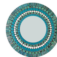 Teal Round Mixed Media Mosaic Wall Mirror