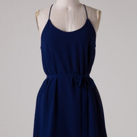 Dancing Queen Basic Flirty Spaghetti Strap Tie Waist Dress - Navy Blue