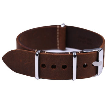 High Quality Vintage Crazy Horse Genuine Leather Nato Watchband Brown Watch Straps 18mm