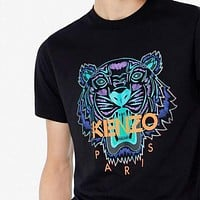 KENZO Women Men Casual Embroidery Round Collar T-Shirt Top
