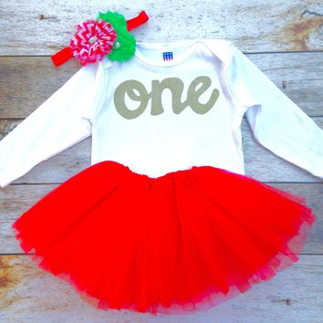 3 piece Green peppermint headband Red tutu with long sleeve gold glitter one Onesuit, headband girls 1st Birthday holiday outfit Christmas Day girls first birthday