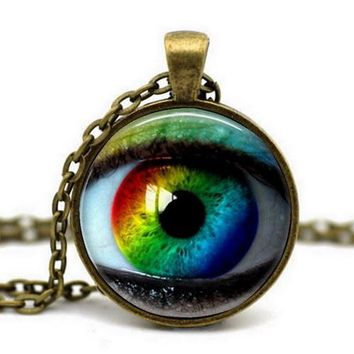 Antique Bronze Chain Custom Cat Eyes Design Acrylic Vintage Glass Cabochon Art Picture Pendant Necklace For Women Jewelry