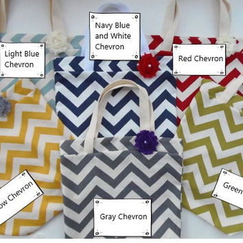 Black Friday Sale, Beach Bags, 6 Bridesmaid Gifts, Yellow Chevron Bags, Burlap Tote Bags
