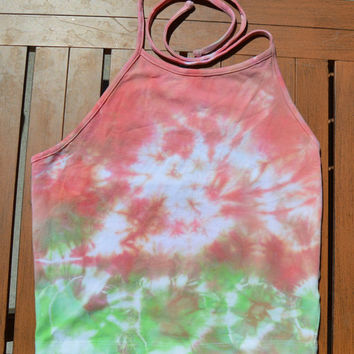 SMALL Coral / Lime Green Crop Tie Dye Halter Top