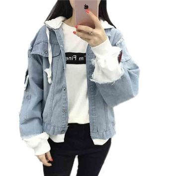 Trendy New Autumn Casual Hooded Denim Jacket Women Fake Two Pieces Boyfriend Trends Jean Pockets Loose Jackets Jeans Coat Female AT_94_13