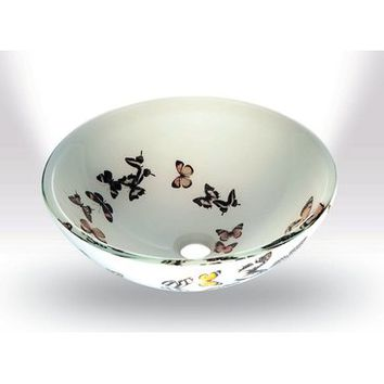 Legion Furniture ZA-20 Tempered Glass Sink Bowl In Butterfly Frosted