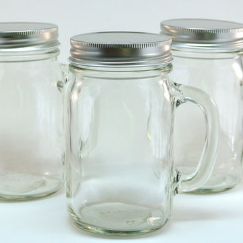 12 Mason Jar Mugs- 16 Ounce Mason Jars with Handle and Cap