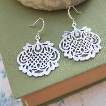 Silver Filigree Earrings Bridal Accessories Dangle Earrings Lace Drop Metal Statement Jewelry Romantic