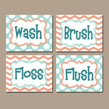Wash Brush Floss Flush Kid BATHROOM Rules Wall Art, CANVAS or Prints Aqua Coral Blush Choose Colors Chevron Polka Dots Bath Set of 4