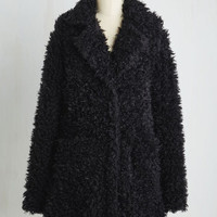 Statement Long Long Sleeve Gallery Glamour Coat in Noir