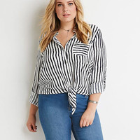 Black and White Striped Bottom Tie Loose Blouse