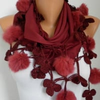 Burgundy Pashmina Scarf Spring Mother's Day Gift Pompom Shawl Cowl Scarf Gift Ideas For Her Women Fashion Accessories Winter Accessory