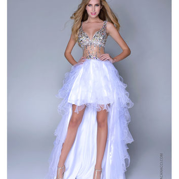 Nina Canacci 2014 Prom Dresses - White Satin & Tulle Illusion High-Low Prom Dress