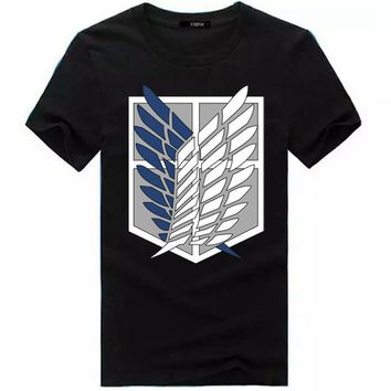 Cool Attack on Titan no  Legion  shortsleeves Wings of Liberty Cosplay Costume   Anime Tees Unisex T shirt AT_90_11