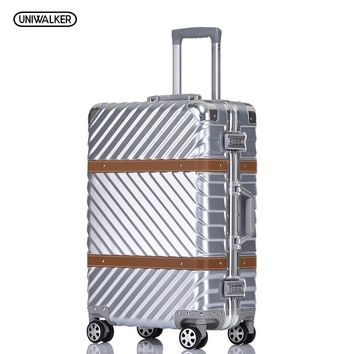 """UNIWALKER 20"""" 24"""" 26"""" 29"""" Vintage Suitcase PC+ABS Luggage Rolling Spinner Lightweight Suitcase With TSA Lock"""