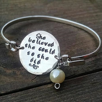 She believed she could so she did Inspirational Graduation Bracelet Friend Gift Daughter Gift