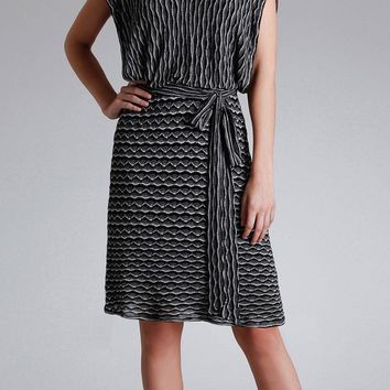 Black Jacquard Knit Dress